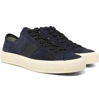Tom Ford Leather Trimmed Suede Sneakers Navy