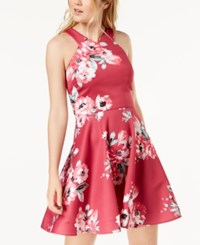 My Michelle Juniors' Floral Print Fit And Flare Dress Red