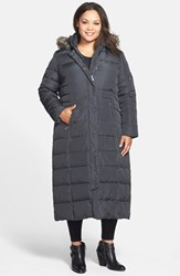 Plus Size Women's Dkny Down And Feather Fill Maxi Coat With Faux Fur Trim Steel