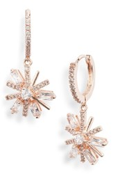Jenny Packham Mini Pave Crystal Drop Earrings Crystal Rose Gold