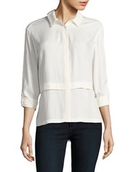 Kensie Long Sleeve Button Down Shirt French Vanilla