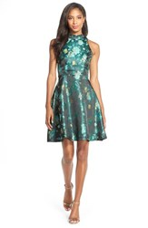 Women's Kut From The Kloth Mock Neck Floral Jacquard Fit And Flare Dress