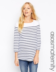 Asos Maternity Top In Cotton Breton Stripe With 3 4 Sleeve Whitenavy