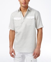 Sean John Men's Textured Popover Shirt Platinum