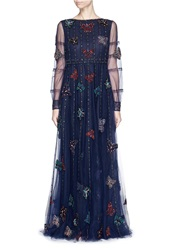 Valentino Butterfly Bead Tulle Gown Blue