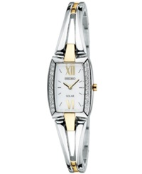Seiko Watch Women's Solar Two Tone Stainless Steel Bangle Bracelet 18Mm Sup084