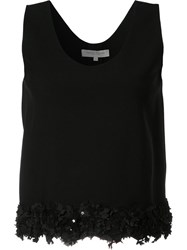 Carolina Herrera Floral Embroidery Tank Black