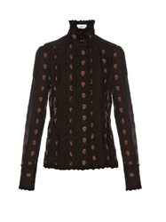 See By Chloe Broderie Anglaise Trimmed Fil Coupe Shirt Black