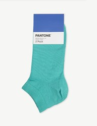 Pantone Ankle Cut Cotton Blend Socks Pack Of Two Indian Green