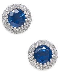 Macy's Sapphire 5 8 Ct. T.W. And Diamond 1 10 Ct. T.W. Stud Earrings In 14K White Gold