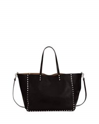 Valentino Medium Double Rockstud Reversible Tote Bag Black Bright Cuir