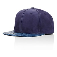 Just Don Men's Suede And Python Baseball Cap Navy
