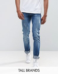 Loyalty And Faith Tall Slim Fit Jean With Abbrasions Blue