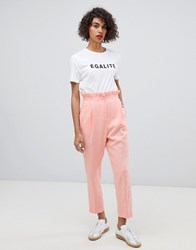 Asos Design Tailored Casual Linen Trouser With Frill Waist Pink