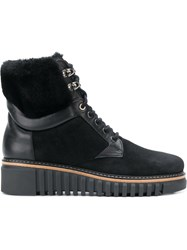 Loriblu Fur And Leather Trim Ankle Boots Suede Leather Rubber Black