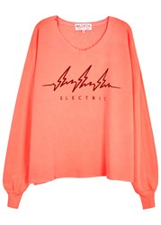 Wildfox Couture Electric 5Am Neon Coral Jersey Sweatshirt Pink