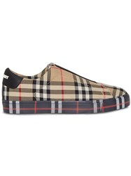Burberry Contrast Check And Leather Slip On Sneakers Neutrals