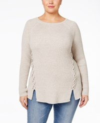Styleandco. Style Co. Plus Size Lace Up Sweater Only At Macy's Dark Ivy