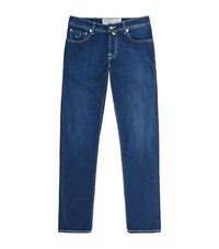 Jacob Cohen Slim Fit Cream Stitch Jeans Male Blue