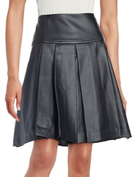 Michael Michael Kors Pleated Faux Leather Skirt Black