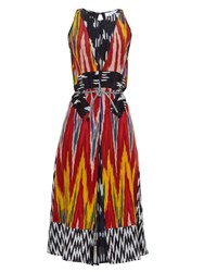 Altuzarra Parrot Ikat Print Silk Midi Dress