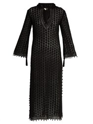 Talitha Hooded Crochet Lace Long Kaftan Black