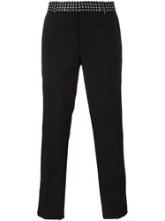 Alexander Mcqueen Printed Waistband Straight Leg Trousers Black