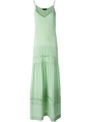 Rochas Pleated Slip Dress Green