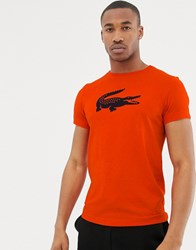 Lacoste Sport Large Croc Logo T Shirt In Red