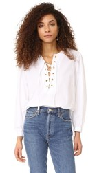 Mes Demoiselles Kasu Lace Up Blouse White