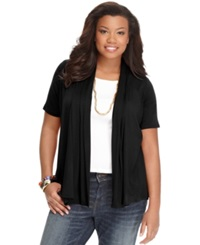 Ing Plus Size Short Sleeve Open Front Cardigan Black