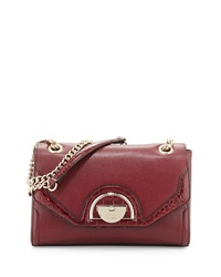 Class Roberto Cavalli Coco Saffiano Leather Shoulder Bag Burgundy