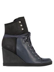 See By Chloe 90Mm Leather And Nubuck Wedged Sneakers