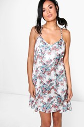 Boohoo Pretty Floral Strap Back Slip Dress Cream
