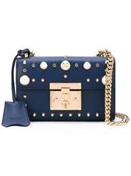 Gucci Padlock Studded Shoulder Bag Women Calf Leather Pearls Metal One Size Blue