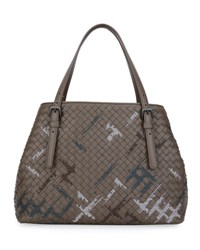 Bottega Veneta Intrecciato Double Handle Tote Bag Gray