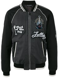 Dolce And Gabbana Musical Patch Striped Bomber Black