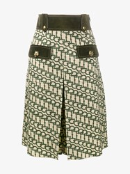 Gucci Horsebit Print Wool Knee Length Culottes Green Beige Khaki