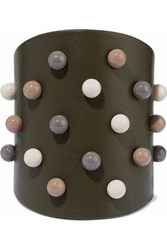 Red Valentino Beaded Leather Cuff Army Green