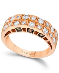 Le Vian Chocolate And White Diamond Engagement Band In 14K Rose Gold 3 4 Ct. T.W.