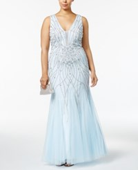 Xscape Evenings Plus Size Beaded Mesh Mermaid Gown Blue Silver