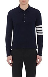 Thom Browne Men's Varsity Polo Sweater Blue