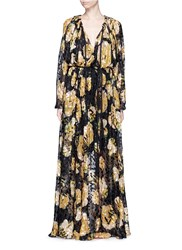 Lanvin Leopard Devore Floral Print Silk Chiffon Dress Multi Colour