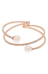 L. Erickson Simulated Pearl And Crystal Twist Bracelet Rose Gold