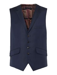 Ted Baker Men's Sterling Checked Slim Fit Waistcoat Navy
