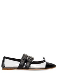 Miu Miu 10Mm Plexi And Patent Leather Ballerinas Black