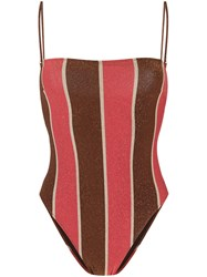 Mc2 Saint Barth Glitter Detail Striped Swimsuit Red