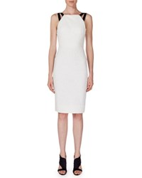 Roland Mouret Elvaston Sleeveless Sheath Dress White Black White Black