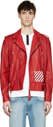 Off White Red Leather Biker Jacket