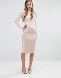 Miss Selfridge Shimmer Pencil Midi Skirt Pink